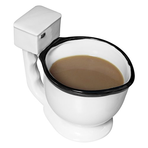 Evelots Toilet Mug Ceramic Coffee, Tea or Beverage Cup Gag Gift, White