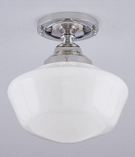 Norwell - 5361F-PN-SO - Schoolhouse Flush Mount - Polished Nickel Finish/Shiny Opal Glass