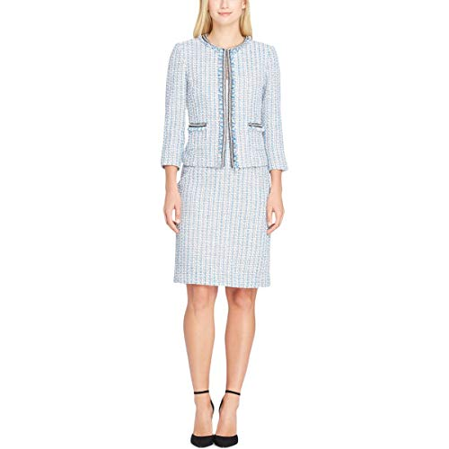 Tahari ASL Womens 2PC Embellished Skirt Suit Blue 10