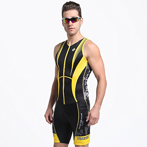 NUCKILY Cycling Skinsuit Summer Sleeveless Biking Padded Skinsuit For Men - Cycling Skinsuit Mens