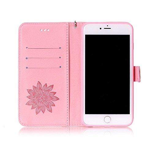 Imprint Flowers Leather Wallet Tasche Hüllen Schutzhülle - Case für iPhone 7 Plus - Pink