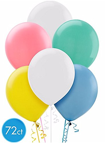 Enchanting Pleasant pastel colors Solid Latex Balloons Party Decoration, 12'', Pack of 72.