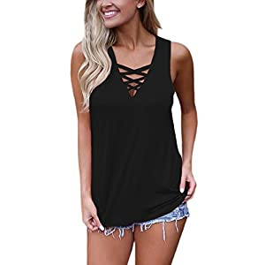CICIDES Women Summer Deep V Neck Sleeveless Lace Up Criss Cross Cami Tank Tops Black US12-14 Large