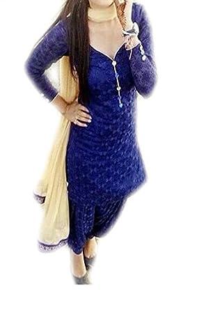 VAANKOSH FASHION WOMENS BLUE NET DRESS MATERIALS Dress Material at amazon