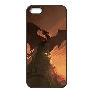 Antiguo Dragón iPhone 4 4S Caso de la cubierta Negro Funda caja del teléfono celular Funda Cubierta EDGCBCKCO00059