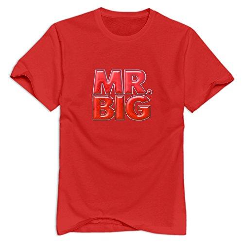 TWSY Men's Mr. Big T-Shirt Red US Size L,100% Organic Cotton