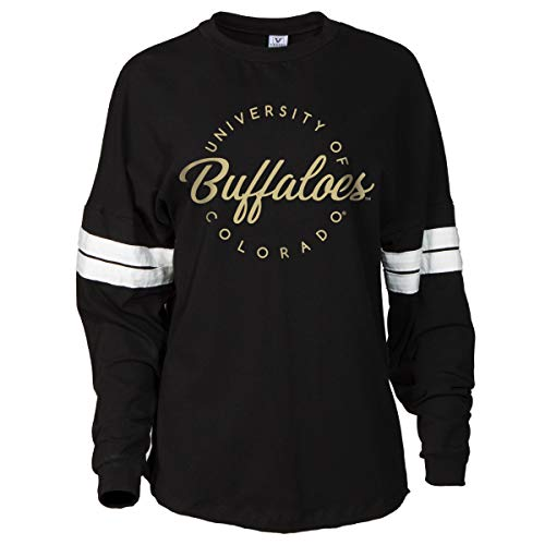 Football Striped T-shirt - Official NCAA Colorado Buffaloes Women's Striped Oversized Football Tee