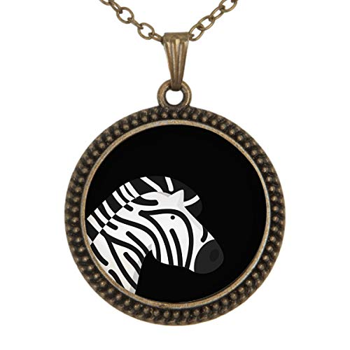FOREVER 20 Black and White Zebra Pendant Necklace Alloy Glass Cabochon Jewelry Necklaces for Girls and Women (L-Copper)