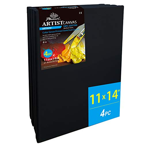 PHOENIX Black Painting Stretched Canvas - 11x14 Inch/4 Pack - 3/4 Inch Profile Artist Canvas for Oil & Acrylic Paint, Collages, Advertising Poster & Decorating Projects from PHOENIX