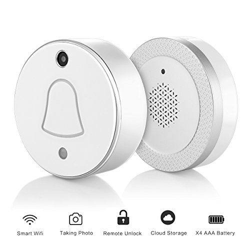 WiFi Doorbell with Camera, ALLOMN Wireless Doorbell RF Receiver Chime, Auto Take Picture When Pressing, Free Cloud Storage, APP Push Notificationn with Visitor Snapshot for IOS Android (Silver)