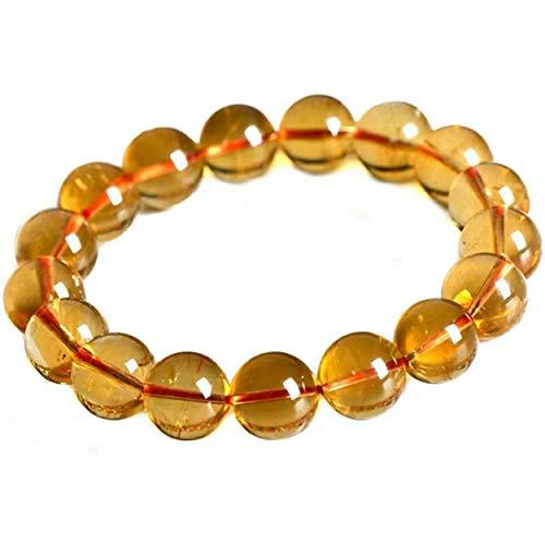 LiZiFang 14mm Genuine Natural Yellow Citrine Quartz Crystal Round Bead Bracelet
