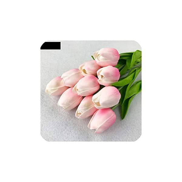 Tulip Flower 10Pcs/Lot Pu Mini Tulip Flower Real Touch Flower Bouquet Artificial Silk Flowers for Home Party Wedding Decoration,Light Pink