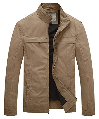WenVen Men's Stand Collar Lightweight Military Jacket(Khaki,Large) (Flight Deck Jacket)