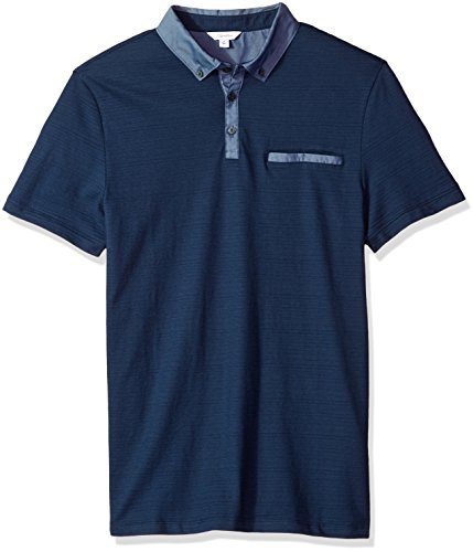 One Chest Pocket (Calvin Klein Men's Short Sleeve Cotton Fashion Polo Shirt, Atlantis Navy, L)