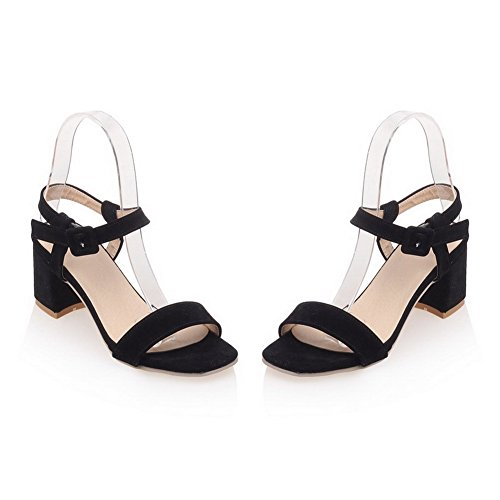 AmoonyFashion Womens Open Toe Kitten-Heels Dull Polish Solid Buckle Sandals Black wrXEsyPjOw
