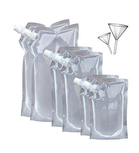 Secret Flasks Cruise Liquor Bag Kit SIX (6) Durable Reusable Flasks With 2 - Booze Cruise
