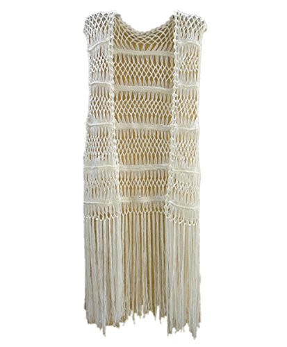 Fringe Leather Vest Long - tinacrochetstudio Long Fringe Crochet Vest Bikini Cover up Hippie Summer Beachwear