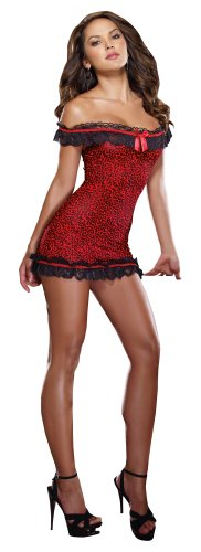 Dreamgirl Women's Wild Kitty Leopard Print Off The Shoulder Chemise And Thong, Red/Black, One Size - Leopard Print Chemise