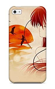 Awesome Girl With Headphones Flip Case With Fashion Design For Iphone 5c