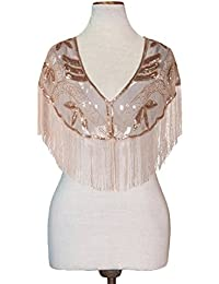 Women's Evening Shawl Sequin Fringed Bolero Flapper 1920s Cape