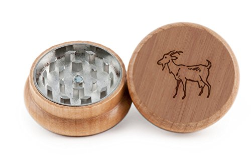 Goat Herb and Spice Grinder - 2 Piece Wood Grinder with Laser Etched Designs - Made with Oak (2 Inches)