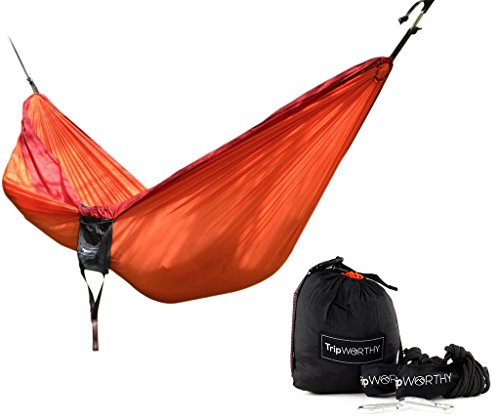 Premium Outdoor Hammock for Hiking - Camping - Backpacking & More! - FREE Hanging Straps - Parachute Nylon Fabric - Compact & Lightweight Set - Bag , Carabiners , Rope and Tree Straps Included! (Duracord Outdoor Rope Hammock)