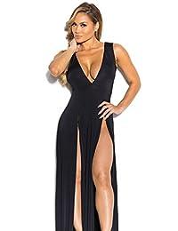 Xuan2Xuan3 Women Sexy High Side Slit Deep V Neck Sleeveless Maxi Long Beach Dress