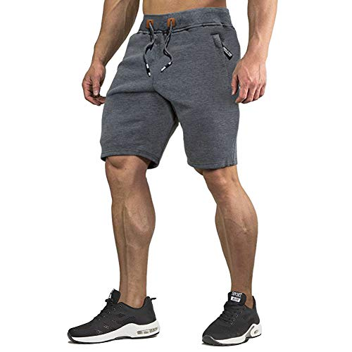 CRYSULLY Men Basketball Track Gym Workout Soccer Volleyball Baseball AthleticYoga Shorts Dark Grey ()