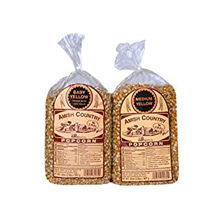 Amish Country Popcorn | 2 -2 lb Bags | 2 lb Baby Yellow and 2 lb Medium Yellow Popcorn Kernels | Old Fashioned with Recipe Guide