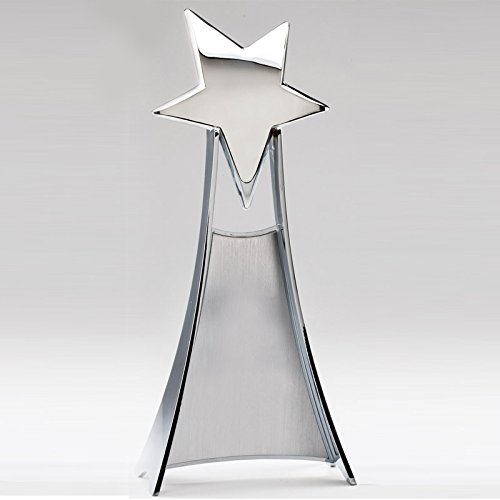 (Customizable 11 Inch Bright Silver Finish Shooting Star Tower Trophy, Includes Personalization)
