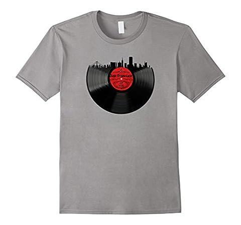 Mens San Francisco California Shirt Skyline Vinyl Record T-Shirt XL Slate - Records Vintage T-shirt