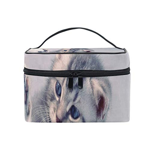 - Travel Cosmetic Bag Aggressive Kitten Animals Cat Toiletry Makeup Bag Pouch Tote Case Organizer Storage For Women Girls