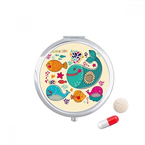 ourful Ocean Travel Pocket Pill case Medicine Drug Storage Box Dispenser Mirror Gift (Fish Colourful)