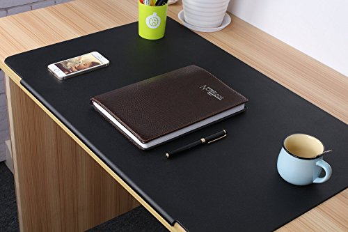LOHOME Desk Pads Artificial Leather Laptop Mat with Fixation Lip, Perfect Desk Mate for Office and Home, Rectangular, Large, Black - Flat Top Home Office Desk
