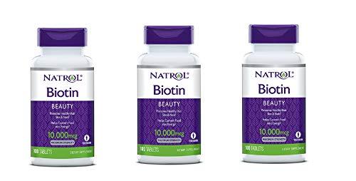 - Natrol Biotin, Beauty, 10,000 mcg Maximum Strength Tablets 100 ea ( Pack of 3)