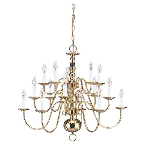 (Sea Gull Lighting 3414-02 Traditional Chandelier, Fifteen-Light, Polished Brass Finish)