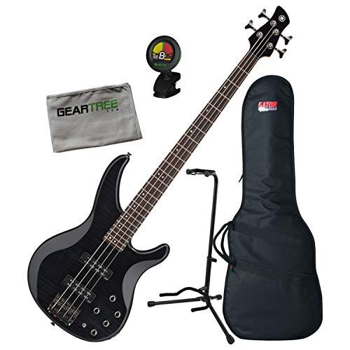 Yamaha TRBX604FM Translucent Black 4-String Bass Guitar w/Bag, Stand, Cloth, Tu