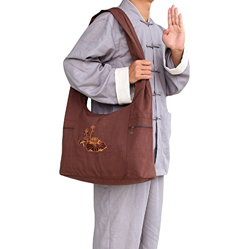 - ZooBoo Unisex One Shoulder Buddhist Bag - Buddhist Tibetan Shaolin Temple Embroidery Kung Fu Bag for Uniform Suit - Cotton and Canvas (Brown)