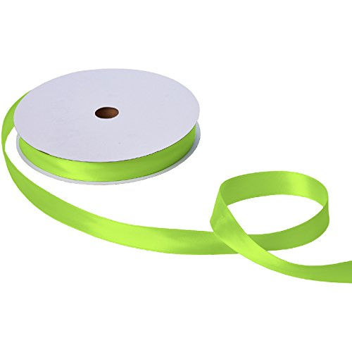 Jillson Roberts Bulk 1-Inch Double Faced Satin Ribbon Available in 20 Colors, Lime Green, 100 Yard Spool (BFR1041)