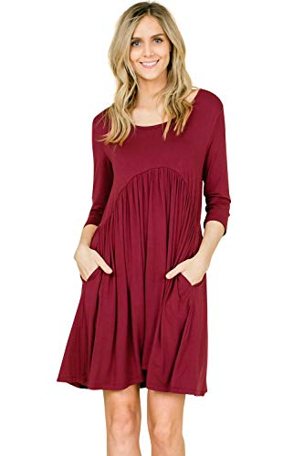 Annabelle Women's Low Neck Short Length Swing Fall Gathered Dress Berry Large D5227K