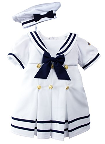 Spring Notion Baby Toddler Girls Nautical Sailor Dress with Hat Style-A Extra Large/18-24 Months White (Sailor Outfit Girls)