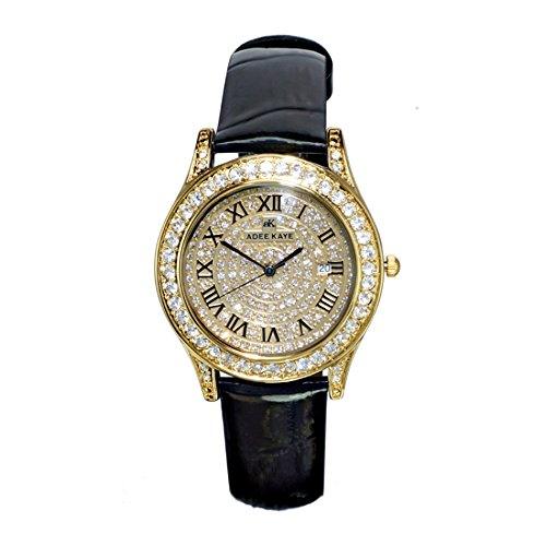 Adee Kaye Rhines Gold Crystal Pave Dial Ladies Watch AK9257-LG