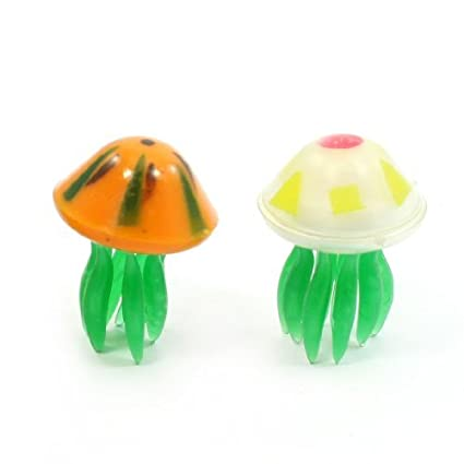 Amazon.com : eDealMax 2-pieza de plástico acuario de medusas artificiales Decoración Conjunto, Naranja/Verde : Pet Supplies