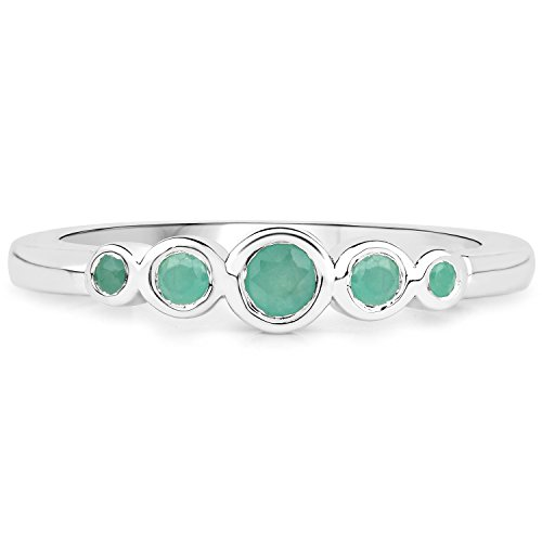 - LoveHuang 0.25 Carats Genuine Emerald Stacking Ring Solid .925 Sterling Silver With Rhodium Plating