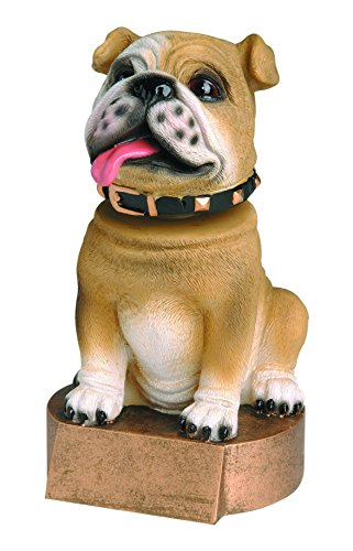 Decade Awards Bulldog Bobblehead Mascot Trophy - Brown | Bulldog Award | 6 Inch Tall - Customize Now
