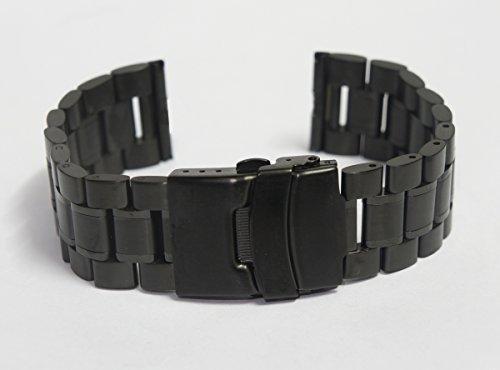 20mm Pulsera De Acero Inoxidable Del Reloj De La Correa De La Venda De Reloj para Motorola Moto 360 (segunda generación) 42 mm (Negro B)