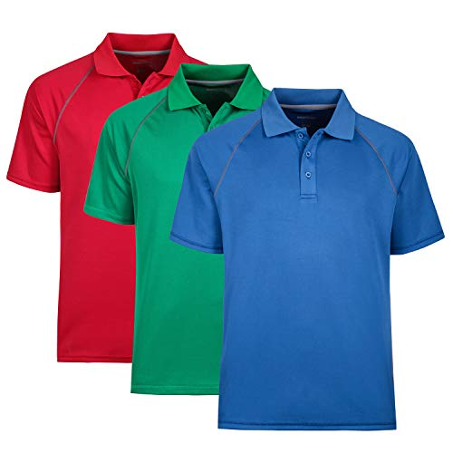Polo Shirt for Men Short Sleeve Moisture Wicking Golf Polo Shirt Pack of 3, XL