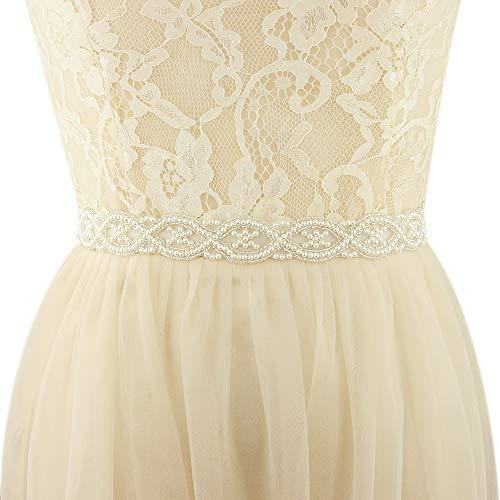 ULAPAN Women's Pearls Bridal Sash Bridal Belt Pearls Wedding Belt Wedding Sash (Ivory)