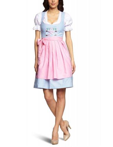 Mini-Dirndl Franzi - hellblau-weiss kariert - rosa - 32-46, Größe:36