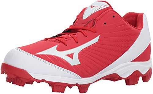 Mizuno Men's 9-Spike Advanced Franchise 9 Molded Baseball Cleat-Low Shoe, Red/White 7.5 D US